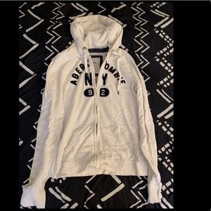 Abercrombie & Fitch White Zip Up Hoodie